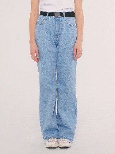 WIDE DENIM PANTS IS [LIGHT BLUE]