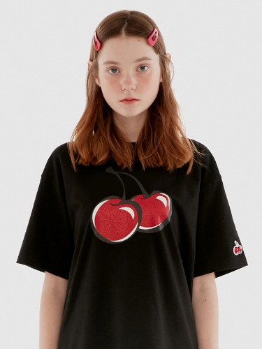 BIG CHERRY GLITTER T-SHIRT IH [BLACK]