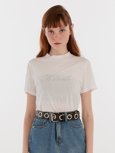 SEETHROUGH HALF NECK TEE IH [WHITE]