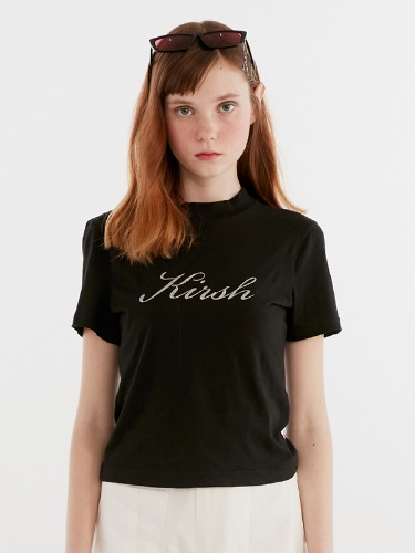 SEETHROUGH HALF NECK TEE IH [BLACK]
