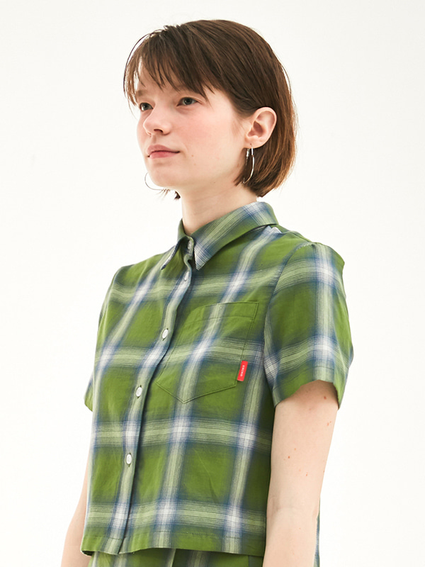 CROPPED CHECK SHIRT HS [GREEN]