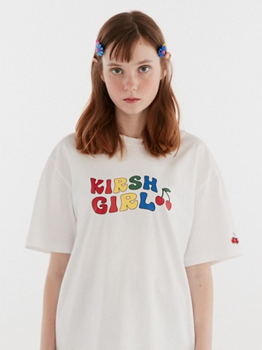 (5월 15일 예약배송)KIRSH GIRL RAINBOW T-SHIRT IH [WHITE]