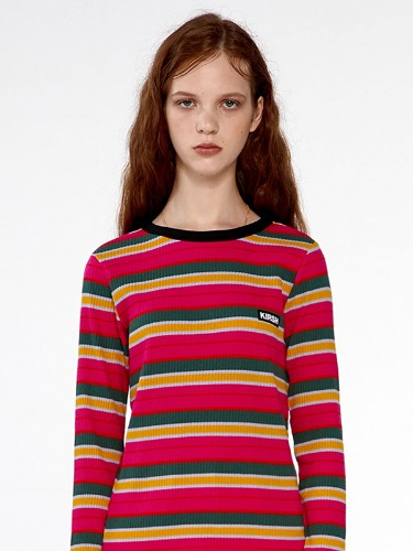 COLOR STRIPE T-SHIRTS IA [HOT PINK]