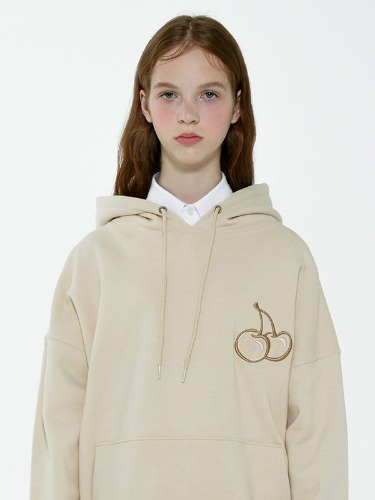 CHERRY TONE ON TONE HOODIE IA [LIGHT BEIGE]