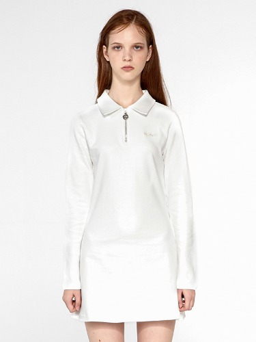SLIM COLLAR DRESS IA [IVORY]