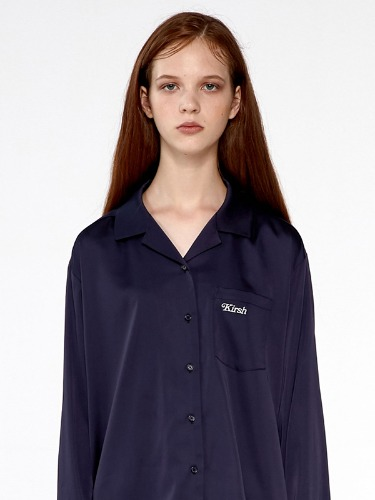 SILKY OPEN COLLAR SHIRTS IA [NAVY]