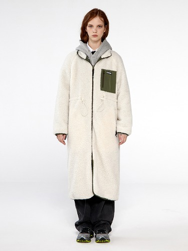 REVERSIBLE FLEECE LONG JACKET IA [IVORY/KHAKI]