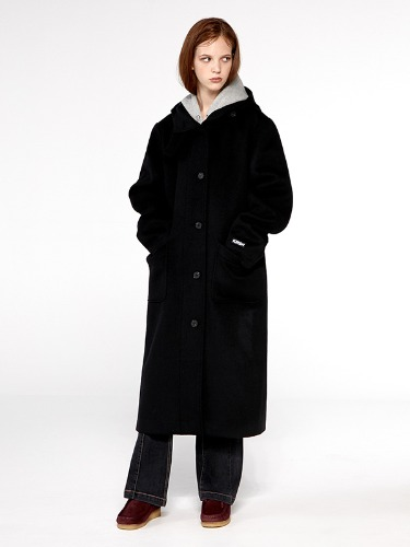 WOOL HOOD COAT IA [BLACK]