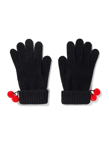 CHRISTMAS KNIT BALL GLOVES IA [BLACK]
