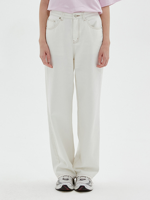 KIRSH WIDE DENIM PANTS JS [IVORY]