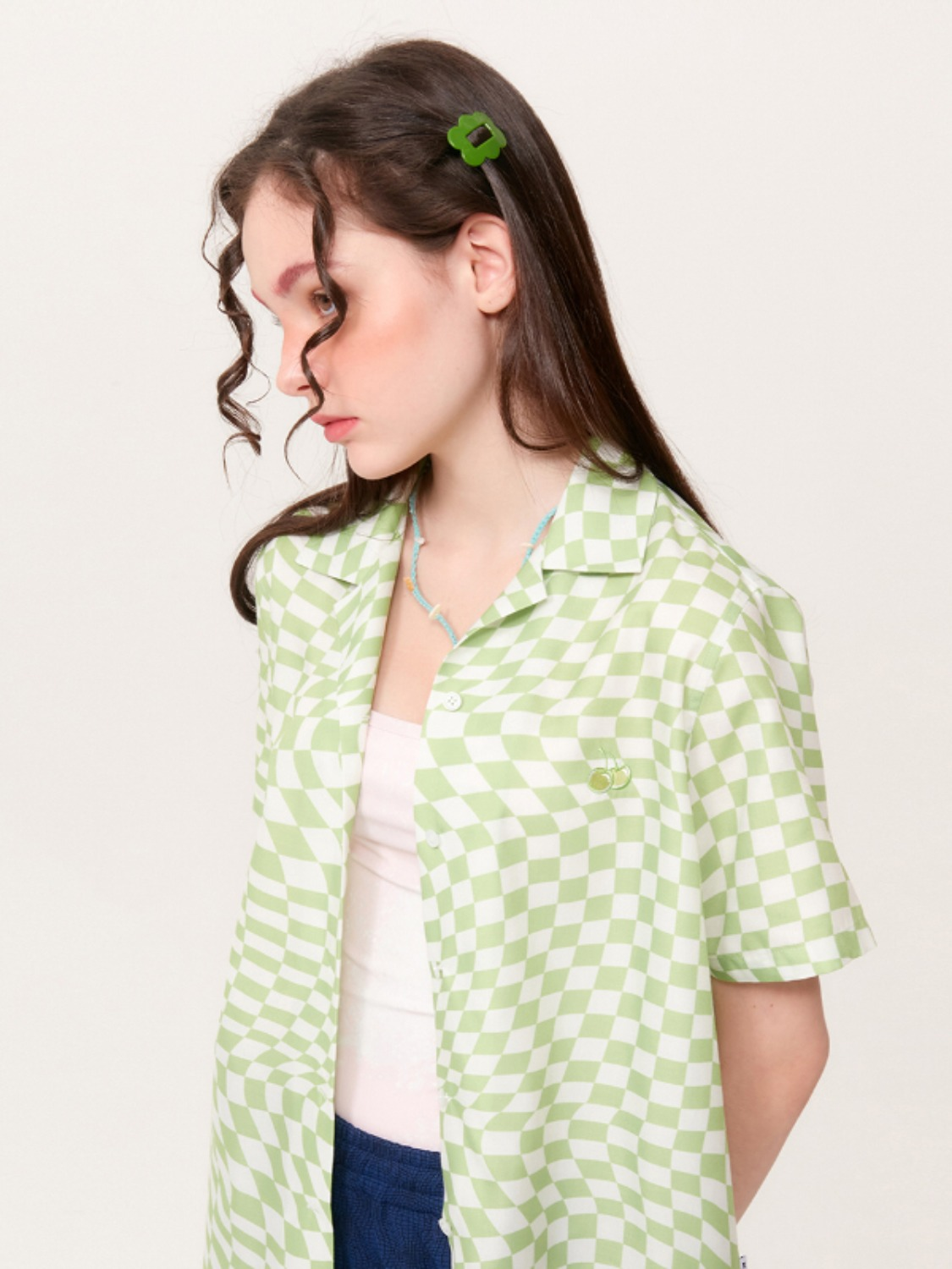 (4월 27일 예약발송)TONE ON TONE CHERRY CHECK PATTERN SHIRT KH [GREEN]