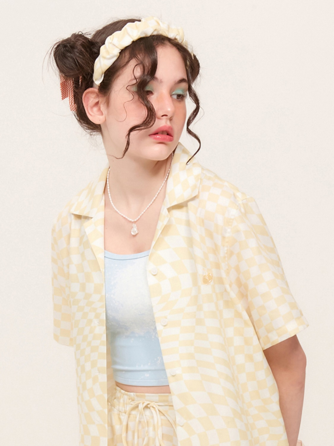 (4월 27일 예약발송)TONE ON TONE CHERRY CHECK PATTERN SHIRT KH [YELLOW]